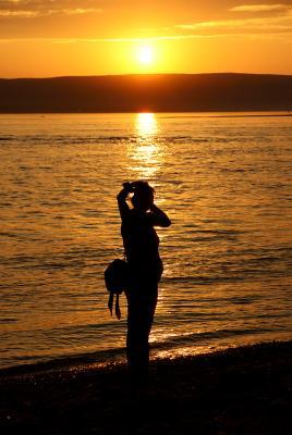 From dusk till.. born закат, река, горы, вечер, девушка, берег