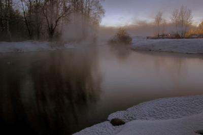 Черная вода.... Зима закат мороз туман холод