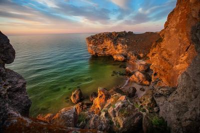 Каменный Кашалот кашалот скалы море азов дикий пляж бирюза вечер красота тишины закат