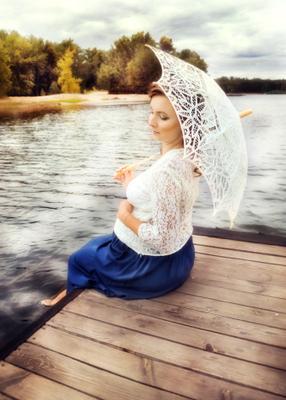 Летний день девушка беременность счастье зонтик