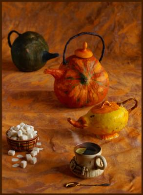 натюрморт с чаем чай сахар чайники