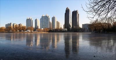 Зима в Чаоянг парке Китай Пекин