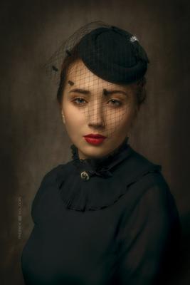 Вуаль девушка портрет шляпка вуаль ретро