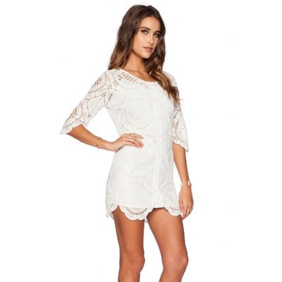 Women's White Half Sleeves Sheer Back Slim Round Neck Lace Clubwear Cocktail Dress dresses cheap sexy party casual Fall Dresses