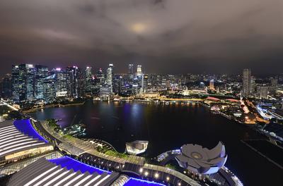 Огни ночного города singapore город путешествие