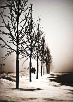 Пара в городском тумане Туман, город, вечер, люди