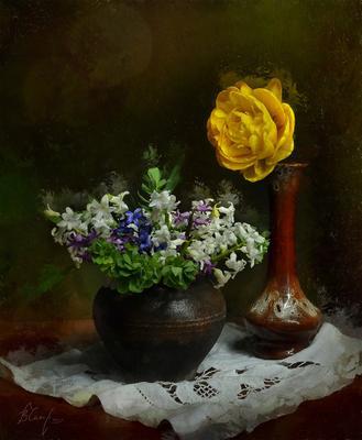 Весенний букетик. chaparin.v.p букетик горшочек керамика цветы