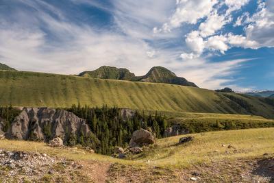 Чуйские столбы. Алтай июнь горы Чуй-Оозы река степь небо облака