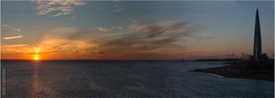 Заход Солнца над Финским заливом лахтацентр