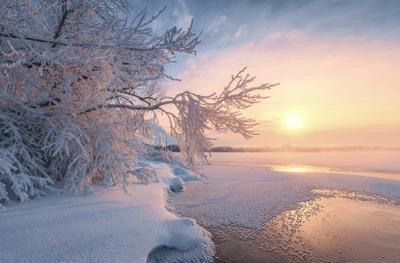 Зима на Святом озере утро зима рассвет пейзаж