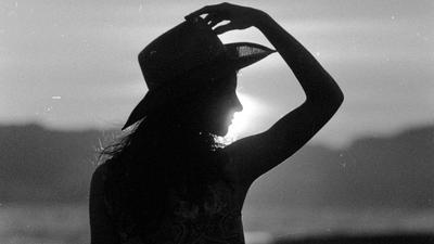 Sun girl montenegro bw film ilford beach
