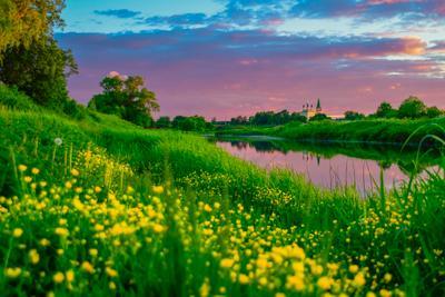 Сиреневый закат . Россия село Дунилово Ивановская обл .Фото .Сайт