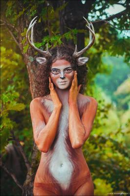 Deer deer forest bodyart art horns paint бодиарт рога девушка краска