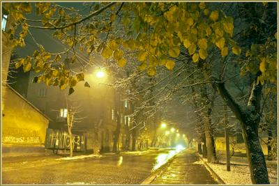 Вечерний город (19) город,зима,вечер,туман,снег,огни