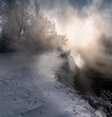 Пробуждение река берег пар солнце