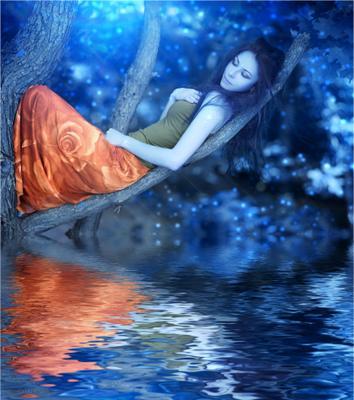 Аватар аватар синее девушка вода дерево рыжая юбка