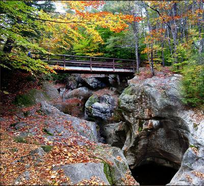 Осень в горах - ущелья горы, вода, мост, осень