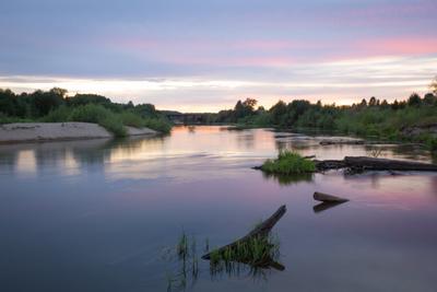 Акварельный закат река закат выдержка