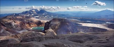 Большие вулканы и маленький вертолётик. Камчатка вулкан вертолет Горелый Мутновский кратер