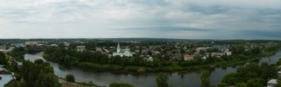 Панорама Кунгура река мост зелень панорама храм