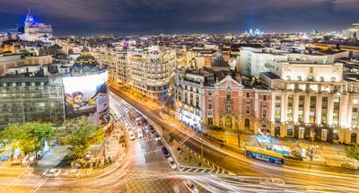 Ночной Мадрид Мадрид Испания Город Вечер Ночь Режимное время