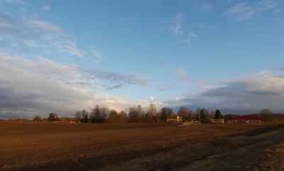 Засыпающий день Путешествия вечер закат поле Эстония