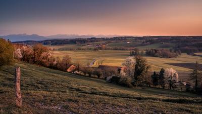 Вечерний свет закат Альпы небо горы Германия Бавария пейзаж весна