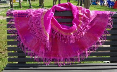 Индийская роза, шаль валяние, ручное валяние, шерсть, сари шелк, шелк, шаль, палантин, розовый