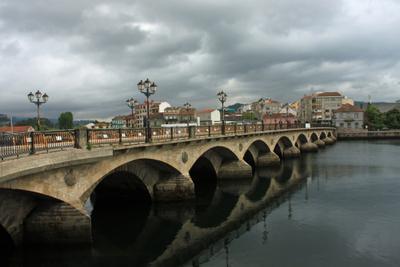 Падроне, путь Сантьяго... Мост Испания фонари Падроне путь