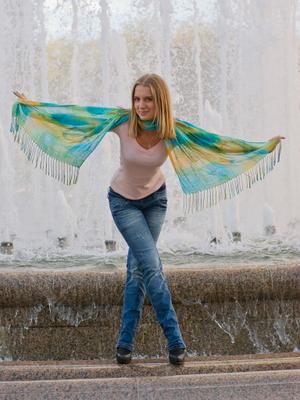 Бабочка) бабочка шарф девушка фонтан