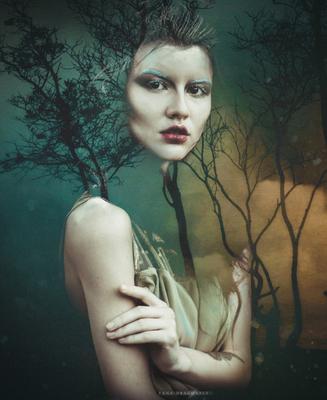 Ghost forest tale farytale portrait girl photoshop mistic beautiful