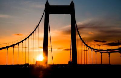 Mocт Storbaelt  мост закат пролив Большой Бельт