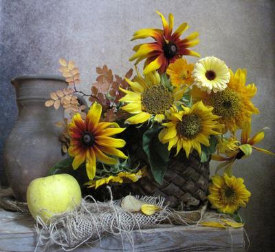 *** цветы букет подсолнухи рудбекия календула наталия тихомирова celesta