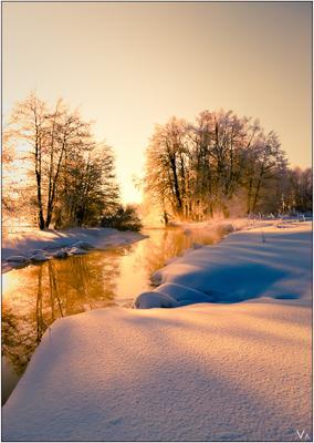 Рождественская зима, снег, река