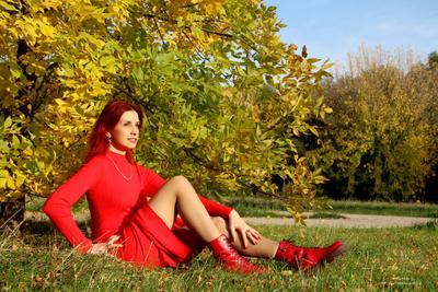 Московские парки в осенних листах Заставят любовь обнажиться. И яркая осень на алых губах Обнимет московские лица модель девушка осень