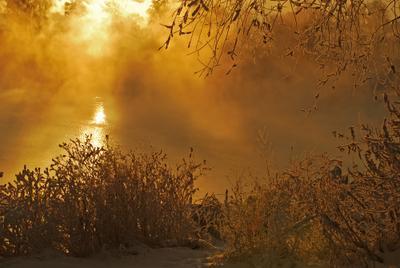 Мистерия. река зима туман солнце