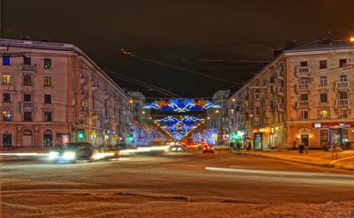 Ночной Мурманск мурманск ночь огни дома машины