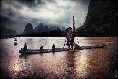 China sketches бакланы, рыбак, яншо