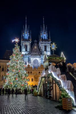 Рождество в Праге Прага Рождество ёлка ночь