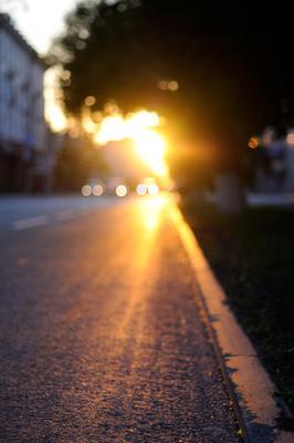 *** Тюмень закат улица солнце луч Tyumen sunset street sun beam