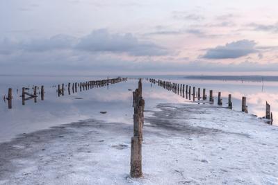 Утро на лимане море лиман вода пейзаж морской утро заря рассвет