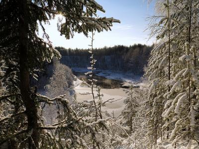 Таежная речка. Тайга мороз речка зима снег вода