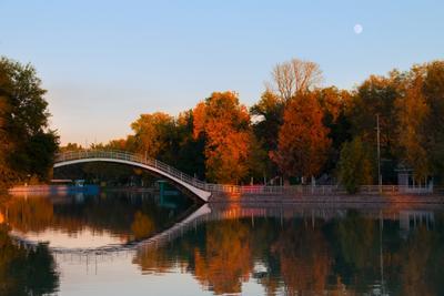 Вечер в парке парк осень озеро мост лес закат деревья
