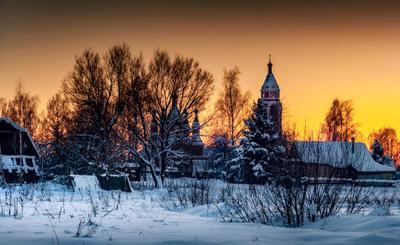 Зимний закат зима снег природа пейзаж закат подмосковье