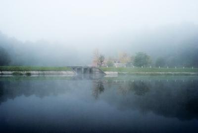 Weir in the mist weir mist fog