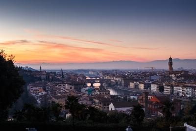 Флоренция италия флоренция панорама город река мосты закат вечер