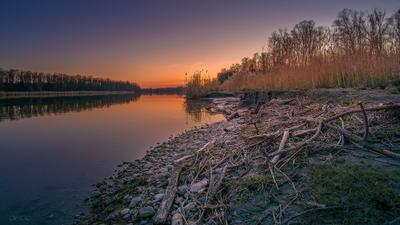 Бобровая река река вечер бобровые владения Инн Германия Бавария