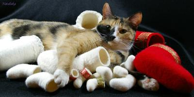 хозяйка шерстяных игрушек кошка, валенки, сувениры, мини-валенки, шерсть, ручное валяние