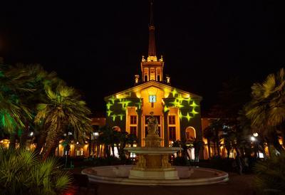 Январские зарисовки порт вокзал Сочи город курорт фонтан пейзаж архитектура вечер январь