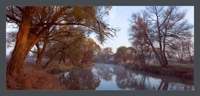 `Река детства, октябрь` река утро туман осень